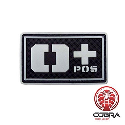 Cobra Tactical Solutions Blutgruppe O+ POS Military PVC Patch mit Klettverschluss für Airsoft Cosplay Paintball für Taktische Kleidung Rucksack (Schwarz/Weiß, O+)