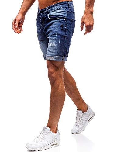 BOLF Hombre Pantalón Corto Pantalones Vaqueros Denim Shorts Bermudas Pantalón de Algodón Estilo Diario RWX 3001 Azul Oscuro 32 [7G7]