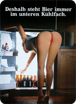 Blechschild 8x11cm Deshalb steht Bier immer im unteren Kühlfach Sign Blechschilder Schild Schilder 201/480