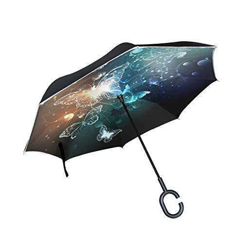 ISAOA großer umgekehrter faltbarer Regenschirm, doppellagig, winddicht, UV-Schutz, Regenschirm für Auto, Regen, Außenbereich, C-förmiger Griff, selbststehend, helle Nacht, Schmetterlinge
