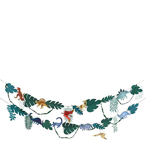 Meri Meri Dinosaur Kingdom Large Garland with 10 Dinosaur and 20 Foliage pennants