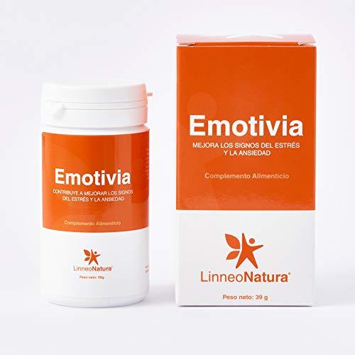 Emotivia | Suplemento para combatir el estrés y la ansiedad. Mejora tu estado de ánimo | Ashwagandha, Rhoiola, Azafrán, Vitaminas, Zinc y Magnesio | Envase 60 Cápsulas