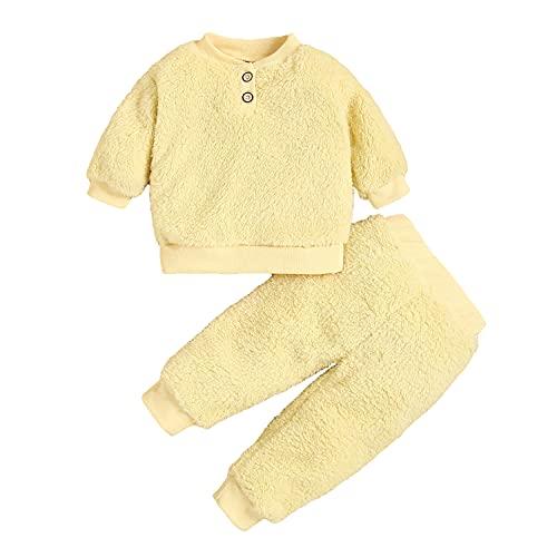 Alunsito Conjuntos de sudadera de manga larga sólida para niños pequeños y niñas, pantalones de lana, 2 piezas, conjuntos de ropa de otoño, beige 110 2-3 años