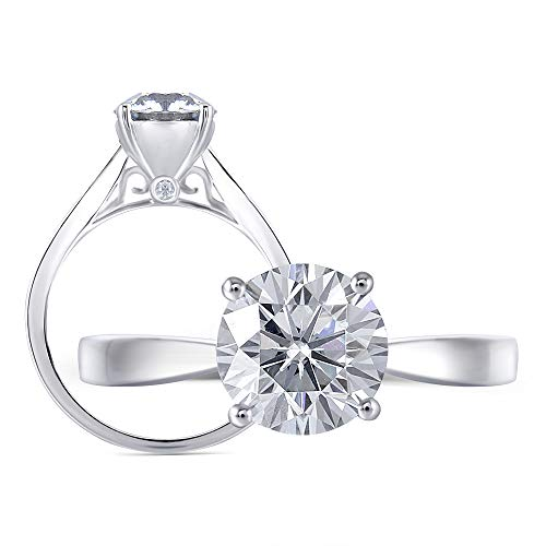 DovEggs Platinum Plated Silver 2ct 8mm Grey Tinted Heart Arrows Cut Moissanite Engagement Ring Solitare with Accents for Women 2.2mm Band Width (5)
