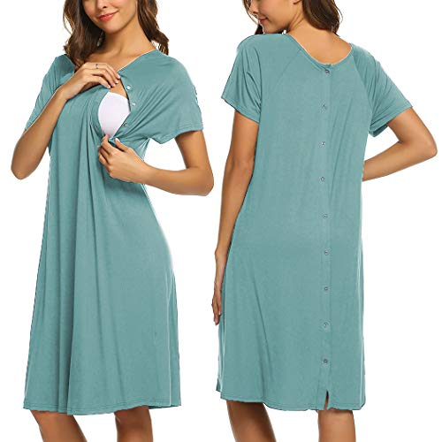 Ekouaer Maternity Nursing Nightgown Womens V-Neck Breastfeeding Sleep Dress Long Gown for Pregnant(Teal,XXL)
