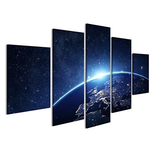 islandburner Bild Bilder auf Leinwand 5 teilig Erde Weltall Poster, Leinwandbild, Wandbilder