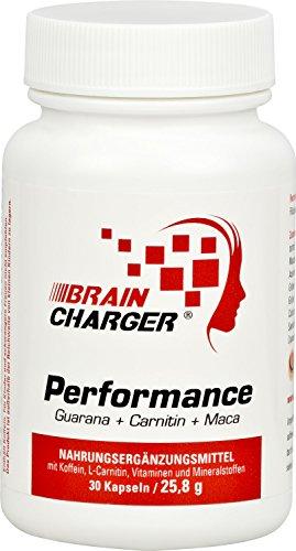 Vihado Brain Charger Performance – gegen Müdigkeit mit Koffein, Pflanzenstoffen und B-Vitamine für geistige Leistung – Koffein Kapseln mit Guarana, Maca, Ginkgo, Carnitin, Magnesium – 30 Kapseln