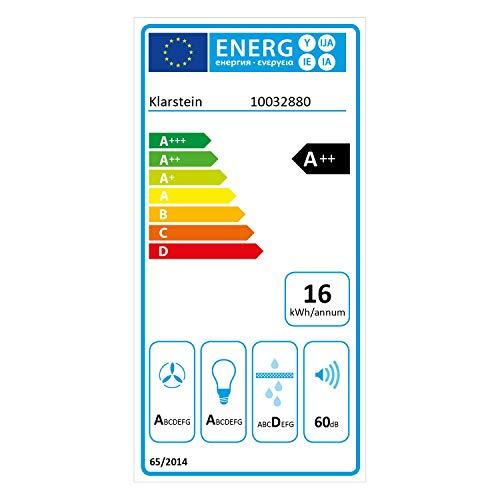 Klarstein Aurora Eco 90 – Wandabzugshaube, Kopffreihaube, Dunstabzugshaube, 90 cm, 550 m³/h Leistung, RGB-Farben, 59 dB leise, Umluft und Abluft, weiß - 10