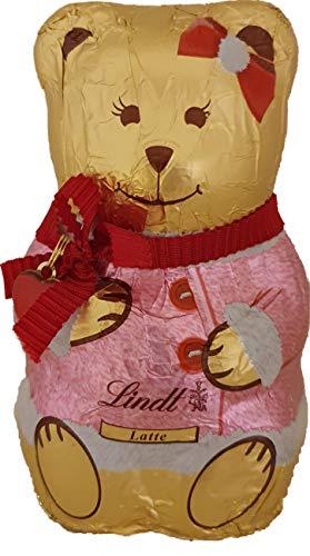 Generico Oso de chocolate Lindt Leche de 100 g con vestido rosa
