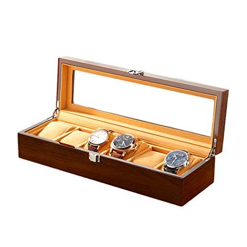 AYYEBO Caja Reloj Pantalla Organizador para Hombres Mujeres Caja Madera 6 Ranuras con Tapa Cristal Almohadas Suaves Ajustables Cierre Metal (Color : Brown)