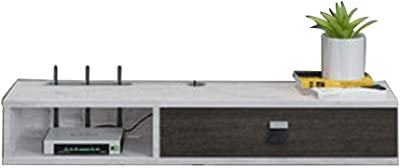TV Stand Floating Wall Mounted Media Console Television Audio Video Console TV Shelf with Cable Management Slot for Living Room Bedroom Home Decor Accents 39.3 * 9.2 * 6.2'' (Color : Black+White)