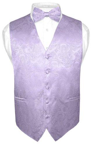 Men's Paisley Design Dress Vest & Bow Tie Lavender Color Bowtie Set sz Medium