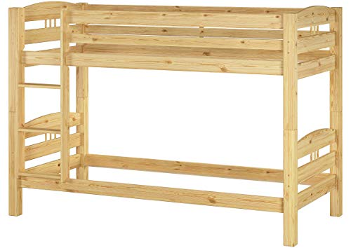 Erst-Holz® Kinder Etagenbett Kiefer Natur 90x200 Massivholzbett Stockbett Rollrost Gästebettkasten 60.10-09S7