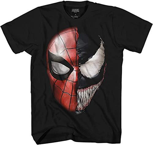 Venom Spidey Faces Spiderman Avengers Villain Comic Book Men's Graphic T-Shirt (Black, XXX-Large)