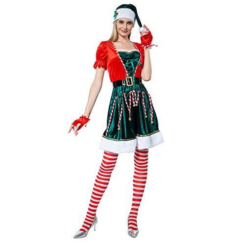 EraSpooky Vestito Divertente da Donna con Costume da Elfo Sexy in Costume da Donna per Adulto