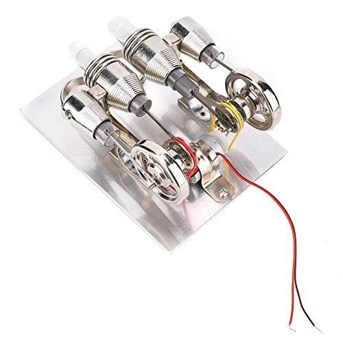 DAUERHAFT Mini con luz cálida Kit de Motor de Motor Stirling Modelo de enseñanza de Laboratorio de física de 4 Cilindros de Acero Inoxidable