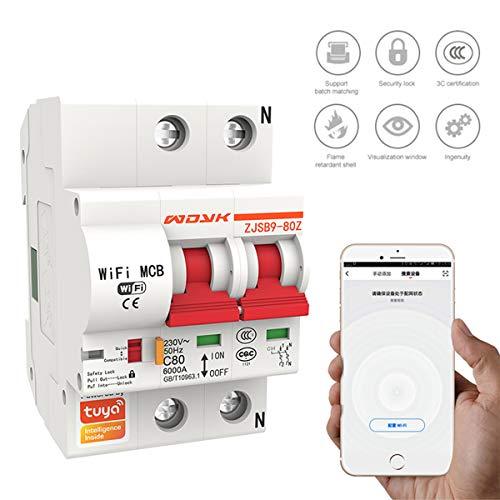 Disyuntor Inteligente en Miniatura Wifi, Funciona con Alexa Y Google Home, Controlado por La Aplicación Inteligente Smart Life/Tuya, 1/2/3/4 Polo, 16/20/25/32/40/63/80/100 Amperios