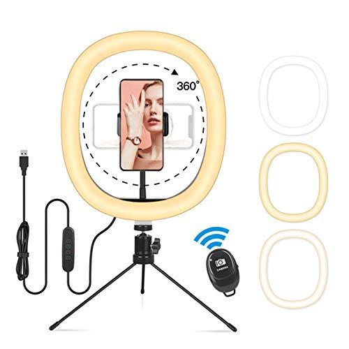 ENCOMAG Trípode para selfies para móviles, 10 pulgadas, luz de anillo regulable, 3 modos de iluminación, 10 niveles de luminosidad, para tik tok youtuber fotográfica, grabación de vídeo
