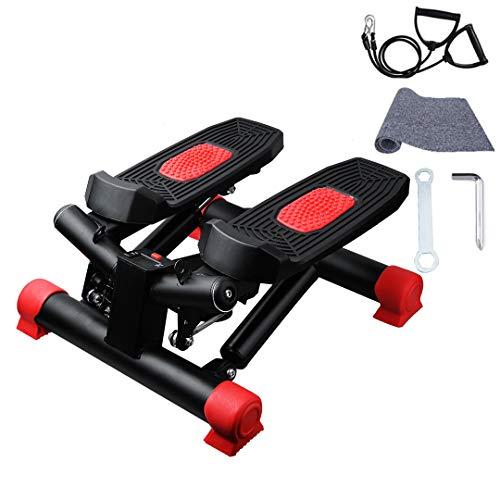 Sinbide 360°Stepper für Zuhause mit Resistance Bands, Up-Down-Stepper, Mini-Fitnessgerät, Heimtrainer, Swing Stepper für Bein Training Pedalmaschine, Nutzergewicht bis 150kg (Schwarz+Rot)