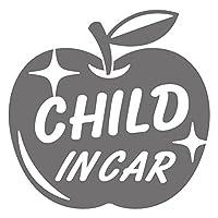 imoninn CHILD in car ステッカー 【シンプル版】 No.63 リンゴ (シルバーメタリック)