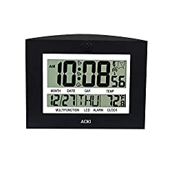 AOKI Atomic Clock Radio Controlled Digital Wall Clock Large Display Indoor Temperature Table Desktop Kitchen Auto Set Up Day Date Month 12 24 Hour Dual Alarm Snooze Time Zone Multi-Language Black