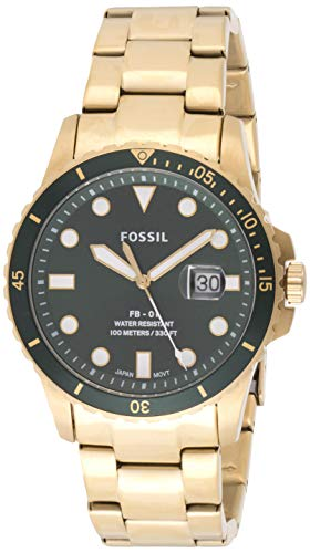 Fossil Herren Analog Quarz Uhr mit Edelstahl Armband FS5658