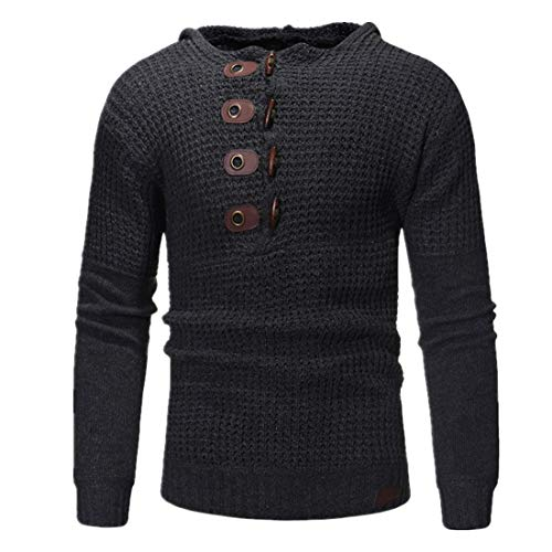 Men Hoodie Men Knitted Sweater Casual Comfortable Long Sleeve Slim Fashion Design Boutique Men Sweatshirt Autumn and Winter New Warm Button Knitted Men Top A-Black 3XL
