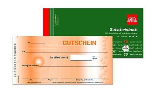 Omega Gutscheinbuch 296 OK, selbstdurchschreibend, 21x10cm, 2 x 50 Blatt fortl. Nr und UV-Sicherheitszeichen
