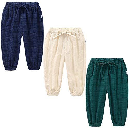 3 Pack of Kinder Mädchen Jungen Sommer Baumwoll Drucken Leinenhose Pumphose Elastische Lässige Anti-Moskito Jogginghose Lässige Pants Hose (Pant#11, Tag 110 (2-3 Jahre))