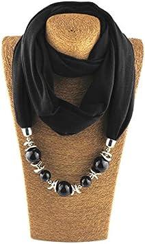 Aawsome Anillo de cuello para mujer collares dise/ño de bufanda color blanco cuentas color s/ólido
