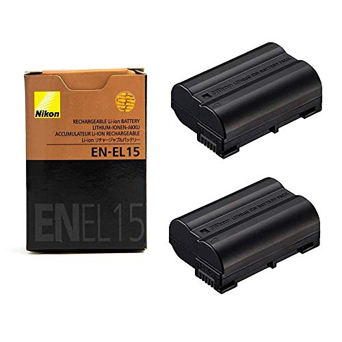2 Pack EN-EL15 Rechargeable Li-ion Battery for Nikon Camera D7000, V1, D600, D800, D800E, D7100, D610, D810, D810A, D750, D7200, D500