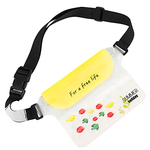 FECAMOS Bolsa Impermeable de Cintura Seca, Material de PVC Bolsas Impermeables con Correa para la Cintura con Cables de Aislamiento de Voltaje natación y(Light Yellow)
