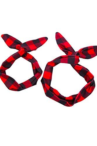 Babyonline® Mutter und Tochter Stirnband Bowknoten Haarband Rockabilly Haarreife kit Eltern-Kinder Haarschumck Kariert