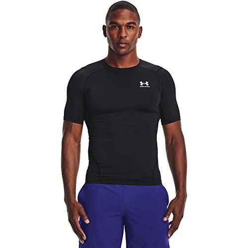 Under Armour Men's Armour HeatGear Compression Short-Sleeve T-Shirt , Black (001)/White, Medium