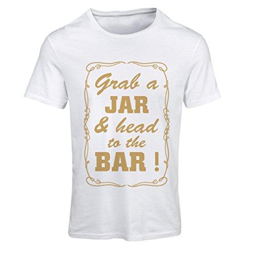 lepni.me N4524F Camiseta Mujer Grab a Jar and & Head to The Bar! (X-Large Blanco Oro)