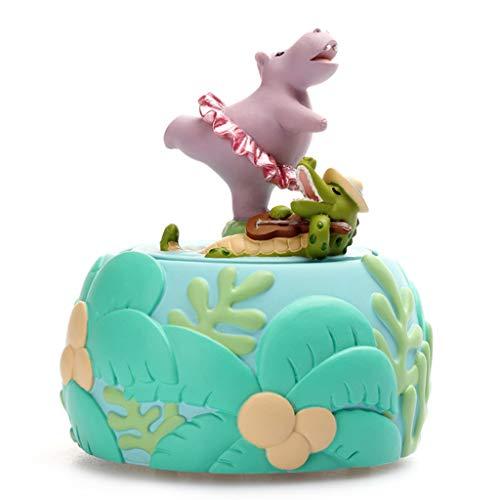 ZPEE Speldosor fin flodhäst modell musiklåda (hjälp kan inte bli kär ton), wind-up musical box, huvuddekorationer, romantisk födelsedagspresent vintage musiklåda