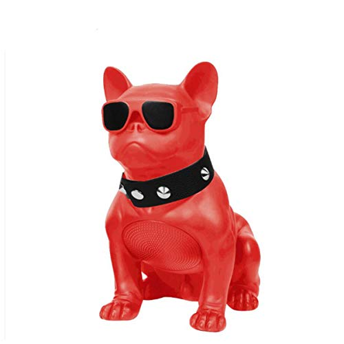 Creative French Bulldog Speaker Wireless Deep Bass Speakers Support TF Card Stereo System/FM Radio for Phone Laptop Tablet TV,Red
