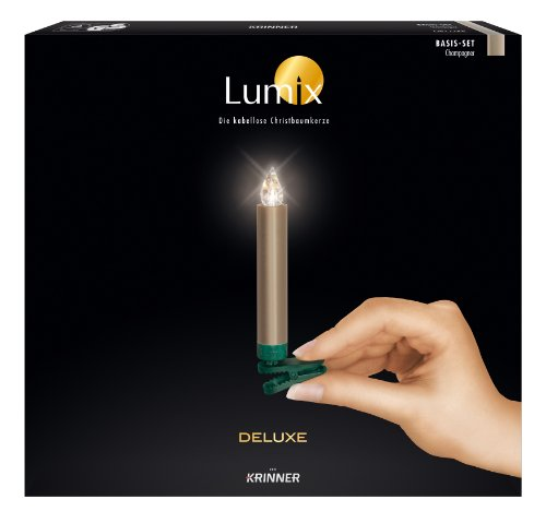 Krinner 74245 LUMIX DELUXE Basis-Set champagner IR, 10 champagnerfarbene, kabellose LED-Christbaumkerzen mit Infrarot-Fernbedienung & Batterien, in warm-weißen Licht
