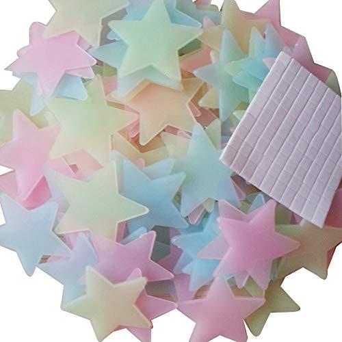 Baanuse Adesivi Luminosi a Forma di Stelle, da Parete, per cameretta dei Bambini, per Grandi e Piccoli,Fluorescenti e Brillanti al Buio, 200 pz, Assortito