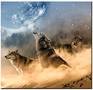 DVQ ART- Framed Wolf Wall Art Painting Animal with Moon Print on Canvas Modern Artwork for Living Room Decor Ready to Hang 1 Pcs (30cmx30cm(12