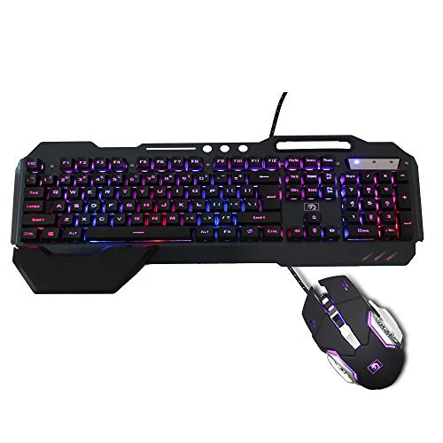 Backlit RGB Keyboard and Mouse Combo, Adjustable Breathing Lamp Wired Gaming Keyboard, Wrist Rest Keyboard 5 Adjustable DPI Gaming Mouse Adjustable Breathing Lamp for Mac, PC, Laptop Gamer (Black)