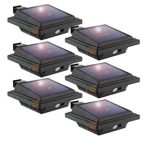 KEENZO LED Dachrinnenlampe, Solar Dachrinnenleuchte Solarlampen für Außen, 25 LEDs, 2 W, PIR-Sensor, Schwarz,Kaltweißes Licht, 6er-Set