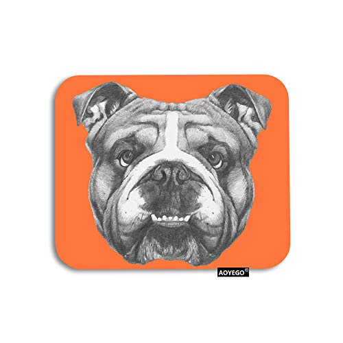 AOYEGO Dog Mouse Pad Portrait of English Bulldog Puppy Retro Animal Funny Cool Pet Gaming Mousepad Rubber Large Pad Non-Slip for Computer Laptop Office Work Desk 9.5x7.9 Inch Orange Grey