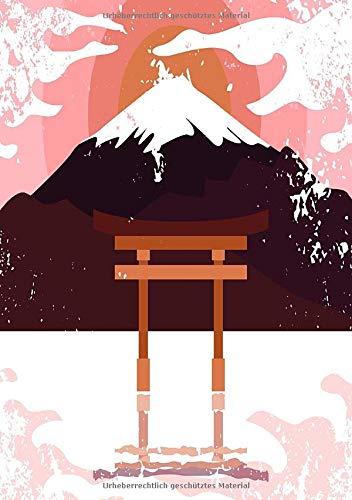 Notizbuch mit japanischem Schrein im See in orange braun: Notizbuch mit traditionellem japanischen Schrein