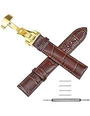 NATUCE Cinturini Orologi Vintage in Pelle con Fibbiain Argento Oro Inossidabile, 18mm 20mm 22mm Cinturino di Ricambio, Regalo di Natale di Compleanno per Uomini Donne
