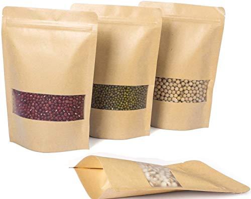 Kuou - Sacchetti di carta kraft, autosigillanti per alimenti, con cerniera, con finestra trasparente, per tè, caffè, noci, semi di frutta secca (9 x 14 cm)