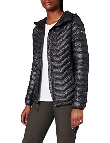 Columbia Kapuzenjacke für Damen, Powder Lite Light Hooded Jacket, Hi-Loft Synthetic Insulation, schwarz (Black Print), Gr. L, EK0026