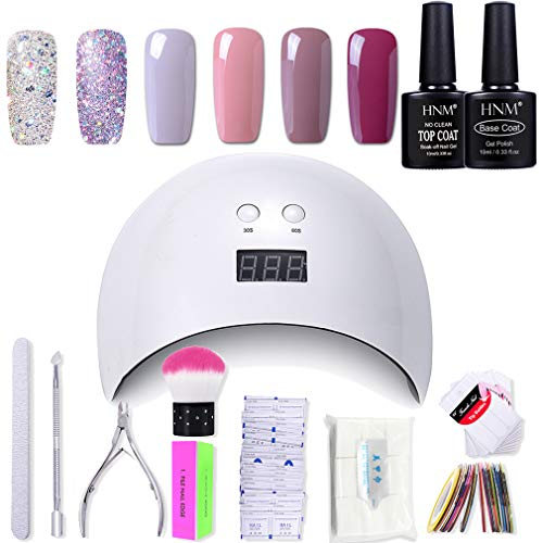 Gel Nail Polish HNM 6 Gel Nail Starter Kit with 24W LED Curing Lamp Base...