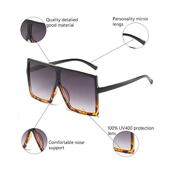 ENSARJOE Square Oversized Sunglasses for Women Men Flat Top Fashion Shades