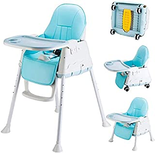 Baby High Chair, 3 Modes with Free Height Adjustment And Leather Seat Surface for Easy Cleaning,2blue